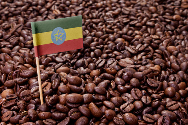 The flag of Ethiopia sticking in roasted coffee beans.(series)