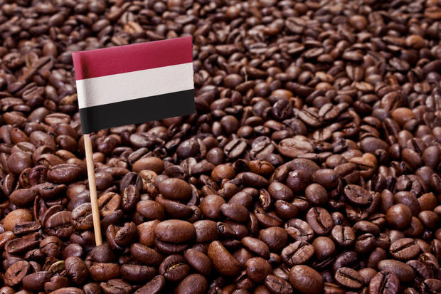 The flag of Yemen sticking in roasted coffee beans.(series)