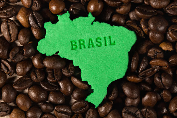 Figure Of Brazilian States With Coffee Beans Around